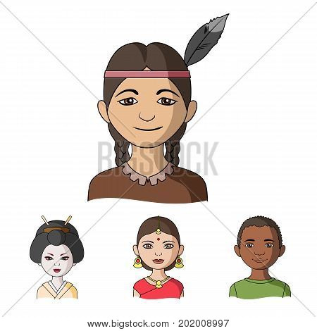 Indian woman, african, japanese, indian. Human race set collection icons in cartoon style vector symbol stock illustration .