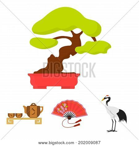 Fan, red crown crane, tea ceremony, bonsai.Japan set collection icons in cartoon style vector symbol stock illustration .