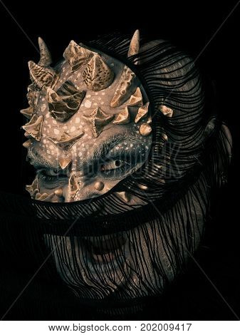 Alien Shouting With Dragon Skin And Grey Beard