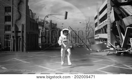 Astronaut In A Ruined City Background In Post Apocalypse Style 3D Render