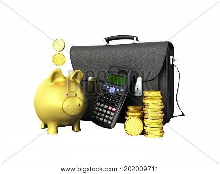 Business Statistics Calculator Briefcase Money Piggy Bank 3D Rendering On White Background No Shadow