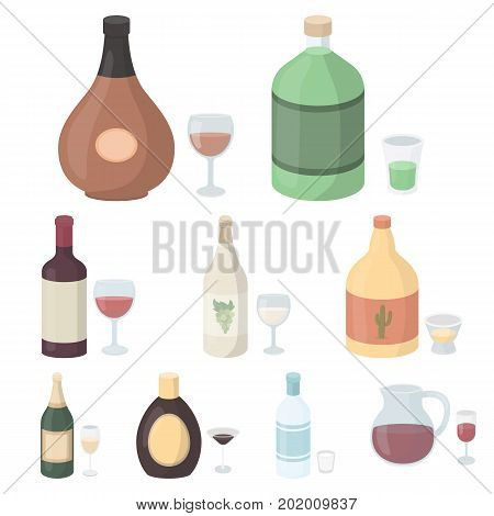 Alcohol set icons in cartoon style. Big collection of alcohol vector symbol stock