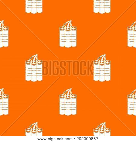 Dynamite sticks pattern repeat seamless in orange color for any design. Vector geometric illustration