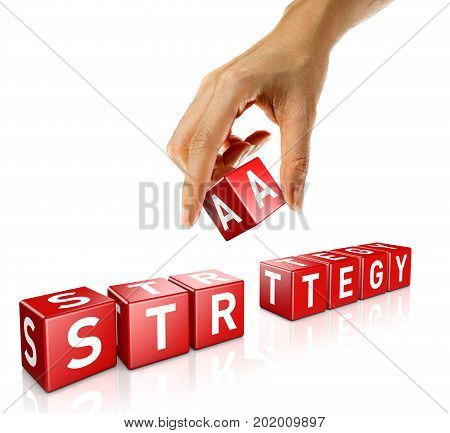 A woman's hand places a cube to form the word strategy. Isolated on a white background