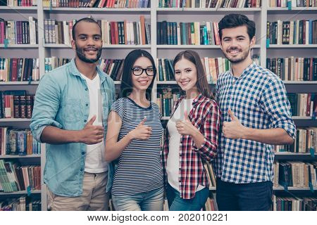 We Like Education! Successful Future For Smart Youth! Four Attractive Young Bachelors Are Welcoming