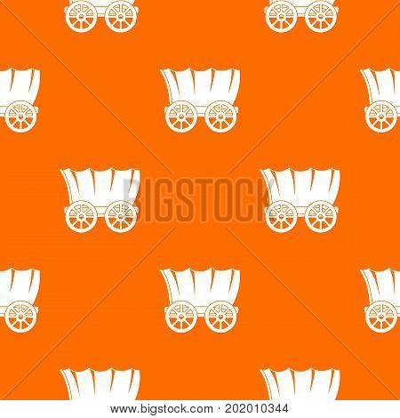 Ancient western covered wagon pattern repeat seamless in orange color for any design. Vector geometric illustration