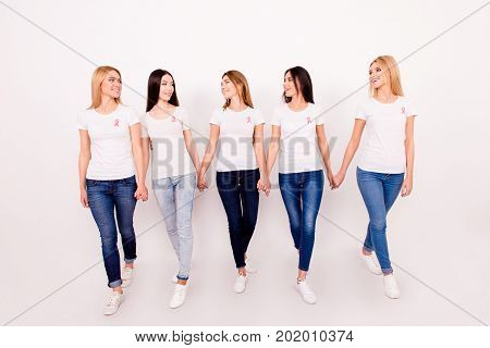 Life After Fighting Breast Cancer Exist. Carefree, Happy, Helthy, Cured, Cheerful Five Girls Are Hol
