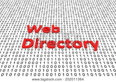 Web directory in the form of binary code, 3D illustration