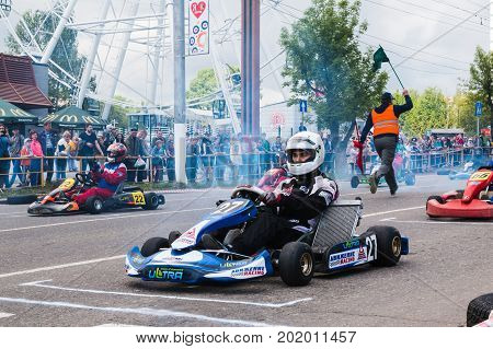 Car And Kart Driver During The Open Competitions In The Birthday
