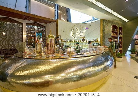 DOHA, QATAR - CIRCA MAY, 2017:  Qataf Cafe coffee counter at Hamad International Airport of Doha, the capital city of Qatar.