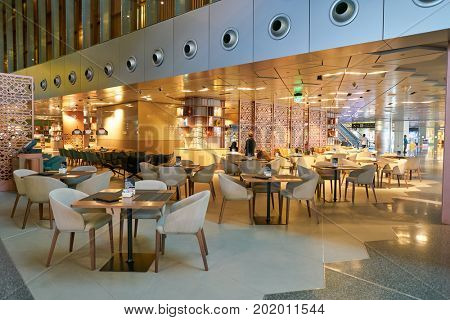 DOHA, QATAR - CIRCA MAY, 2017: IN-Q Cafe at Hamad International Airport of Doha, the capital city of Qatar.