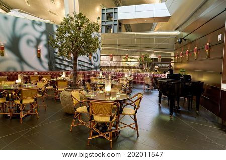 DOHA, QATAR - CIRCA MAY, 2017: Le Grand Comptoir at Hamad International Airport of Doha. Le Grand Comptoir is a classy brasserie style restaurant.