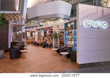 DOHA, QATAR - CIRCA MAY, 2017: Soprafino at Hamad International Airport of Doha. Soprafino is an Italian â??al frescoâ? style restaurant