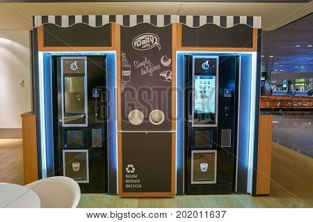 DOHA, QATAR - CIRCA MAY, 2017: coffee kiosk at Hamad International Airport of Doha, the capital city of Qatar.