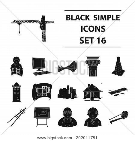 Architect set icons in black design. Big collection of architect vector symbol stock illustration