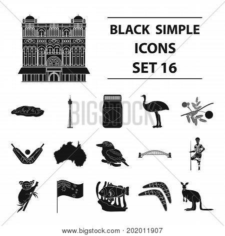 Australia set icons in black design. Big collection of Australia vector symbol stock illustration