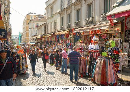 PARIS, FRANCE - CIRCA SEPTEMBER, 2014: people at the Montmartre tourist area.