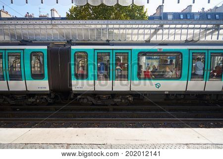 PARIS - CIRCA SEPTEMBER, 2014: Paris Metropolitain station at daytime. The Paris Metro or Metropolitain is a rapid transit system in the Paris Metropolitan Area