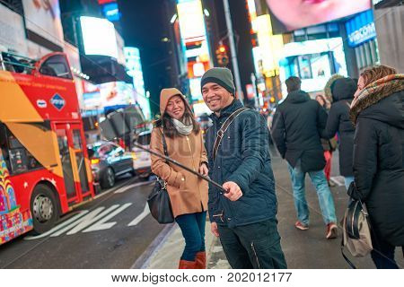 NEW YORK CITY, NY - CIRCA MARCH 2016: people taking a selfie in New-York.