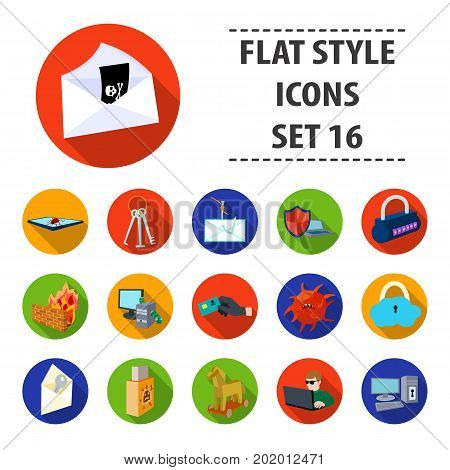 Hackers and hacking set icons in flat design. Big collection of hackers and hacking vector symbol stock illustration