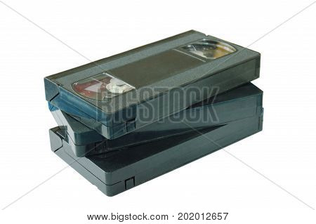 video tape recorder stacking on white background