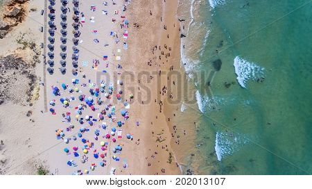 Aerial. Famous tourist beaches of Portugal Filmed from the sky. Algarve