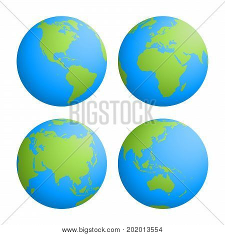 Set of four planet Earth globes with green land silhouette map on blue water background. 3D Vector illustration.