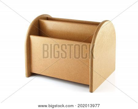 close up brown wooden desk organizer isolated on white background, office equipment that allows a tidy desk