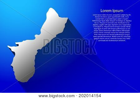 Abstract map Territory of Guam with long shadow on blue background of vector illustration
