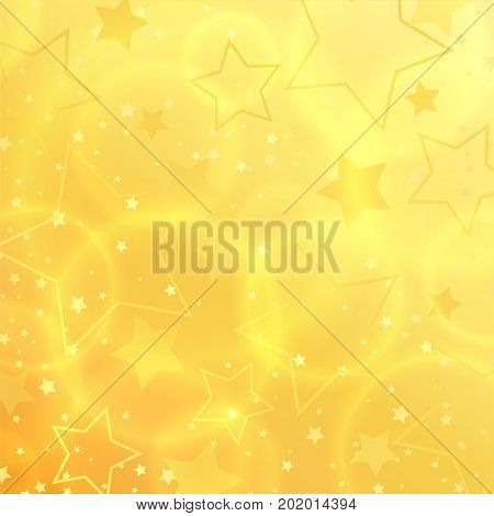 Vector Star abstract background design. Star shape sparkle effect on gold backdrop template