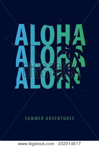 Aloha Summer Graphic With Palms. T-shirt Design And Print.
