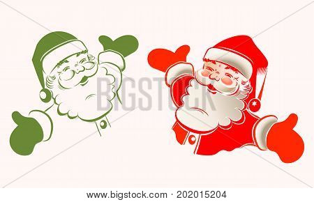 Christmas sign with Santa Claus with arms apart, set