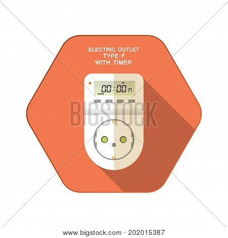 Vector isolated icon of white electric socket type F with digital timer and LCD on the red hexagon background with shadow for use in Europe.