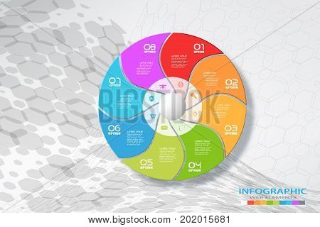 Vector wide infographic of round segmented color form cut from paper with shadows text and icons on the gradient gray background with hexagon pattern.