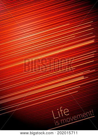 Template Design cover. Life is movement. vector lines and movement on red background for business projects. annual report, book cover, brochure.