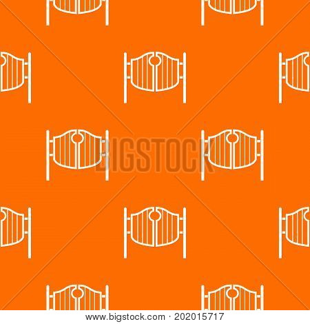 Vintage western swinging saloon doors pattern repeat seamless in orange color for any design. Vector geometric illustration