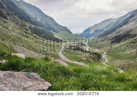 View of the most famous and dangerous road in Europe is a Transfagarasan road in Carpathian mountains Romania.
