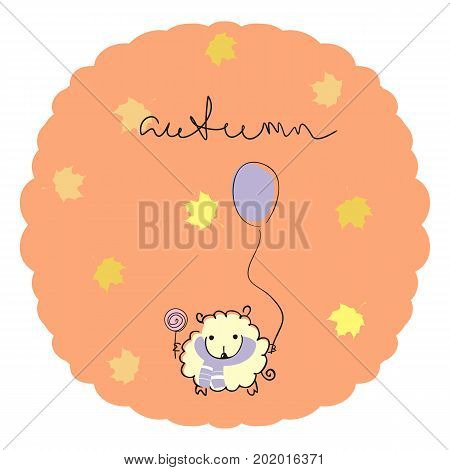 Sheep with a balloon and a Lollipop on orange background with maple leaves and a handwritten title