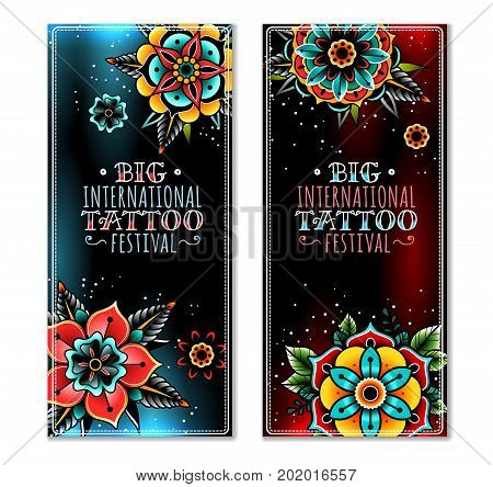 Old school tattoo art flowers dark vertical banners. Old school tattoo flowers. Vector illustration