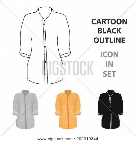 Stylish orange shirt for women. Women dressed in ceremonial clothes.  Woman clothes single icon in cartoon style vector symbol stock web illustration.