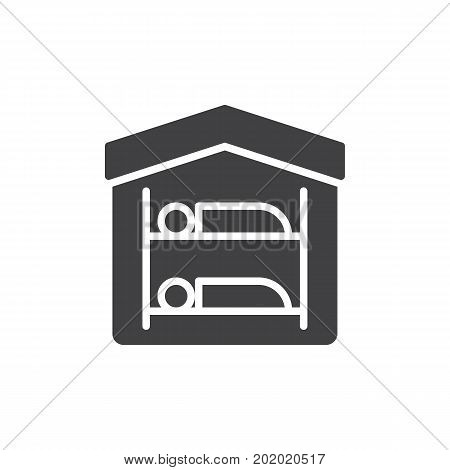 Hostel icon vector, filled flat sign, solid pictogram isolated on white. Symbol, logo illustration. Pixel perfect vector graphics