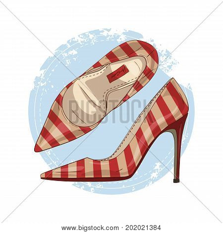 Vector color womens striped pointed toe stilettos