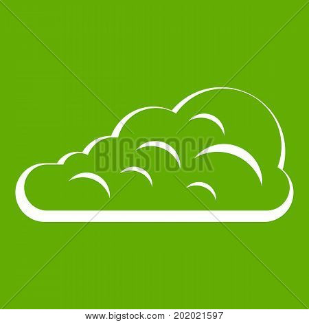 Cumulus cloud icon white isolated on green background. Vector illustration