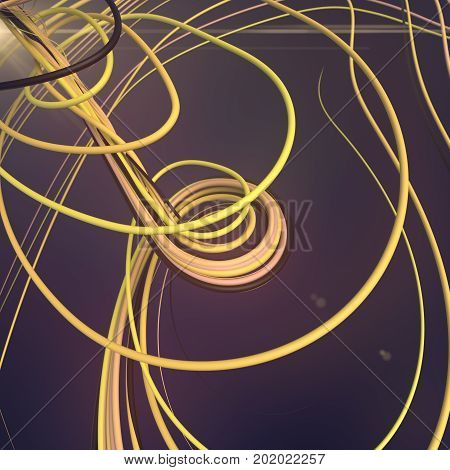 Abstract colored strands yellow lines pattern. 3D rendering