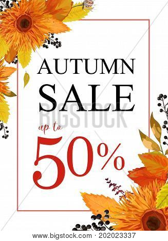Autumn season sale vector banner background with orange gerbera flowers forest colorful fall leaves seasonal herb black berry mix Elegant Illustration template design Flyer poster visit greeting card