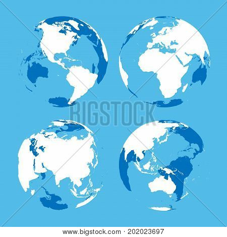 Set of transparent Earth globes with blue and white land silhouette map. Vector illustration.