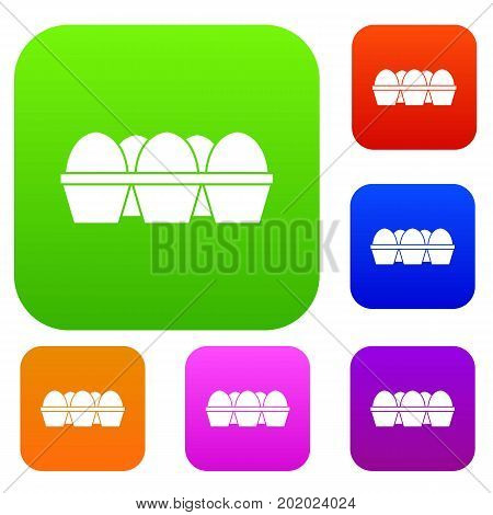 Eggs in carton package set icon in different colors isolated vector illustration. Premium collection