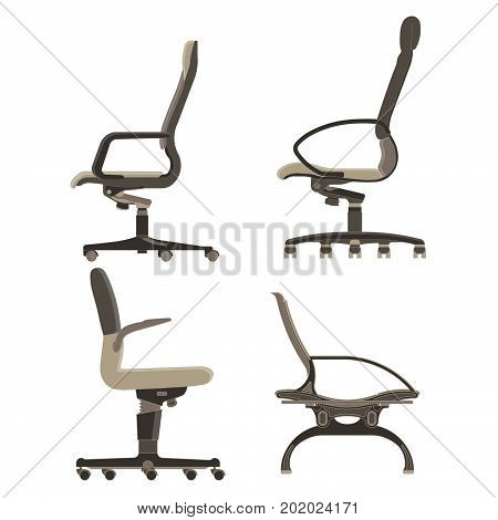 Office chair icon vector set business illustration furniture isolated design computer equipment collection