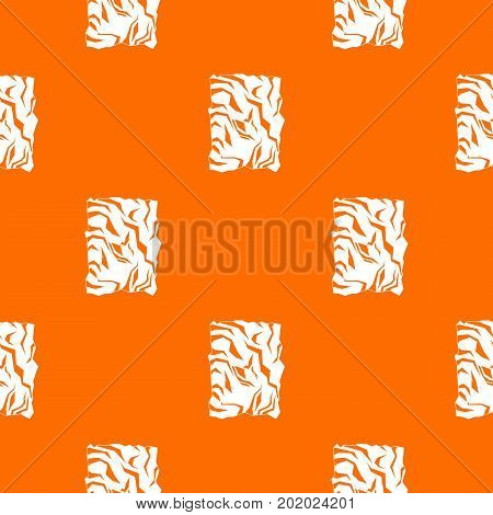 Crumpled paper pattern repeat seamless in orange color for any design. Vector geometric illustration