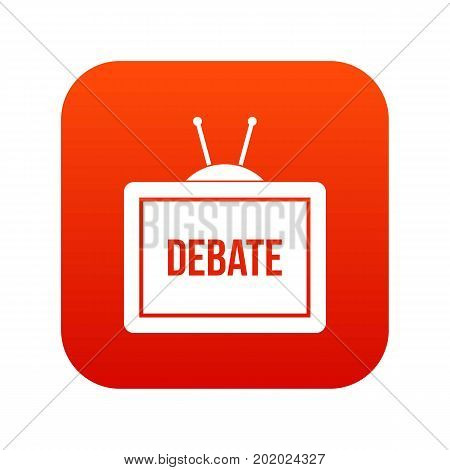 TV with the Debate inscription on the screen icon digital red for any design isolated on white vector illustration